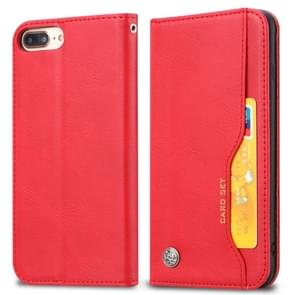 Knead Skin Texture Horizontal Flip Leather Case for iPhone 6 Plus / 7 Plus / 8 Plus, with Photo Frame & Holder & Card Slots & Wallet(Red)