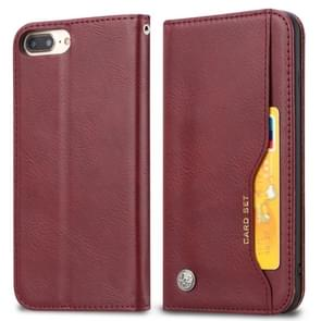 Knead Skin Texture Horizontal Flip Leather Case for iPhone 6 Plus / 7 Plus / 8 Plus, with Photo Frame & Holder & Card Slots & Wallet(Wine Red)