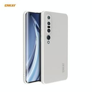 Voor Xiaomi Mi 10 Pro 5G Hat-Prince ENKAY ENK-PC076 Liquid Siliconen Straight Edge Schokbestendige beschermhoes (Wit)
