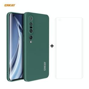 Voor Xiaomi Mi 10 Pro 5G Hat-Prince ENKAY ENK-PC0762 Liquid Siliconen Straight Edge Schokbestendige beschermhoes + 3D Full Screen PET Gebogen Hot Bending HD Screen Protector Soft Film (Donkergroen)