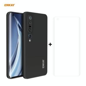 Voor Xiaomi Mi 10 Pro 5G Hat-Prince ENKAY ENK-PC0762 Liquid SiliconEn Straight Edge Schokbestendige beschermhoes + 3D Full Screen PET Gebogen Hete Buigbare HD Screen Protector Soft Film(Zwart)