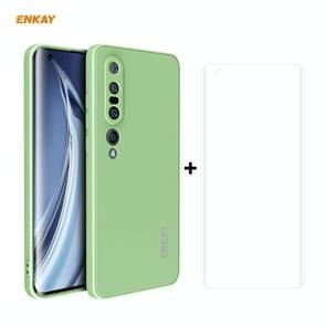 Voor Xiaomi Mi 10 Pro 5G Hat-Prince ENKAY ENK-PC0762 Liquid Siliconen Straight Edge Schokbestendige beschermhoes + 3D Full Screen PET Gebogen Hot Bending HD Screen Protector Soft Film (Lichtgroen)