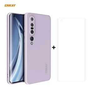 Voor Xiaomi Mi 10 Pro 5G Hat-Prince ENKAY ENK-PC0762 Liquid Siliconen Straight Edge Schokbestendige beschermhoes + 3D Full Screen PET Gebogen Hete Buigbare HD Screen Protector Soft Film(Paars)