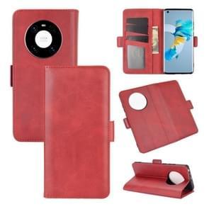 Voor Huawei Mate 40 Dual-side Magnetic Buckle Horizontale Flip Lederen Case met Holder & Card Slots & Wallet(Red)