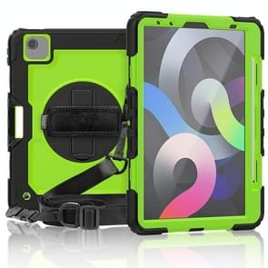 Voor iPad Air 2020 10.9 Schokbestendige zwarte silica gel + kleurrijke pc-beschermhoes (Zwart+Groen)(Zwart+Groen)