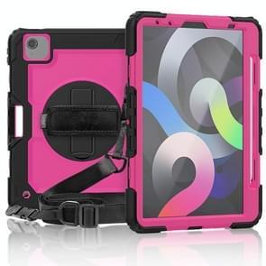Voor iPad Air 2020 10.9 Schokbestendige zwarte silica gel + kleurrijke pc-beschermhoes (Black+Hot Pink)(Black+Hot Pink)