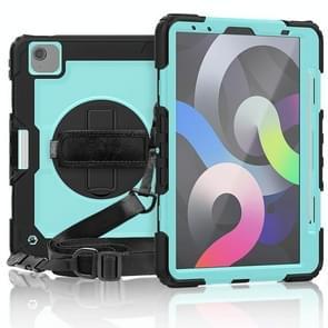 Voor iPad Air 2020 10.9 Schokbestendige zwarte silica gel + kleurrijke pc-beschermhoes (Zwart+lichtblauw)(Zwart+lichtblauw)