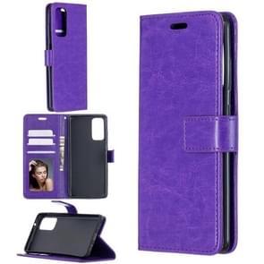 Voor Samsung Galaxy S20 FE Crazy Horse Texture Horizontale Flip Lederen case met Holder & Card Slots & Wallet & Photo Frame(Paars)