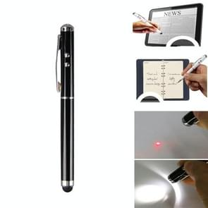 At-16 4 in 1 Mobile Phone Tablet Universal Handwriting Touch Screen Pen met Common Writing Pen & Red Laser & LED Light Function(Zwart)