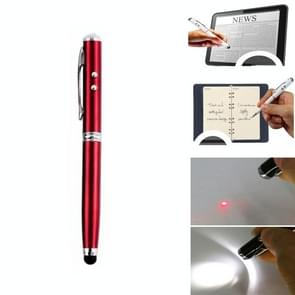 At-16 4 in 1 Mobile Phone Tablet Universal Handwriting Touch Screen Pen met Common Writing Pen & Red Laser & LED Light Function(Red)