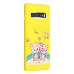 Frosted Pattern TPU Protective Case for Galaxy S10+(Lovers Bear)
