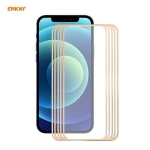 5 PCS ENKAY Hat-Prince 0 2 mm 9H Titanium Alloy Curved Edge Explosion-proof Tempered Glass Full Coverage Screen Protector For iPhone 12 Pro Max(Gold)