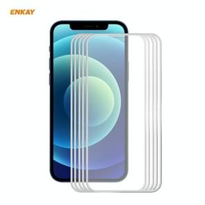 5 PCS ENKAY Hat-Prince 0 2 mm 9H Titanium Alloy Curved Edge Explosion-proof Tempered Glass Full Coverage Screen Protector For iPhone 12 Pro Max(Silver)
