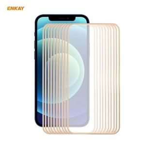 10 PCS ENKAY Hat-Prince 0 2 mm 9H Titanium Alloy Curved Edge Explosion-proof Tempered Glass Full Coverage Screen Protector For iPhone 12 Pro Max(Gold)