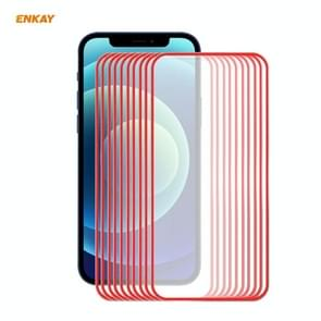 10 PCS ENKAY Hat-Prince 0 2 mm 9H Titanium Alloy Curved Edge Explosion-proof Tempered Glass Full Coverage Screen Protector For iPhone 12 Pro Max(Red)