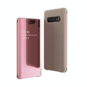 Mirror Plated Ultra-Thin Mobile Phone Smart Protective Case For Samsung S10 Flip-Free Smart Answering Phone(Pink)