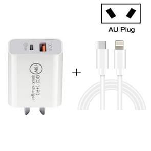 SDC-18W 18W PD + QC 3.0 USB Dual Port Snelladen Universele Reislader met Type-C / USB-C naar 8-pins snellaaddatakabel  AU-stekker