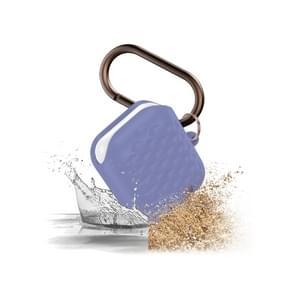 Diamant vierkante Plaid waterdichte karabijnhaak siliconen case voor Apple luchtpods (paars)