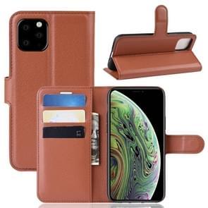 Litchi huid PU lederen portemonnee stand mobiele behuizing voor iPhone XI (2019) (bruin)