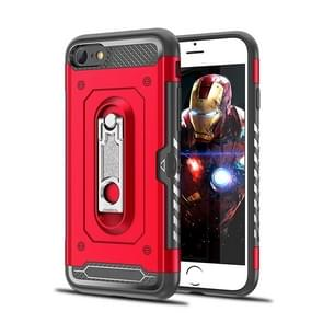 Shockproof PC + TPU Case for iPhone 6 & 6s, with Holder(Red)