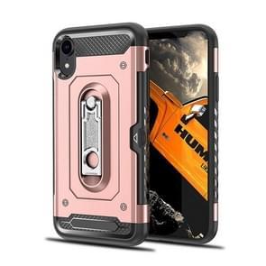 Schokbestendige PC + TPU Case voor de iPhone XR, met houder (Rose goud kast)
