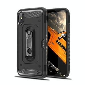 Schokbestendige PC + TPU Case voor de iPhone XS Max  met houder (zwart)