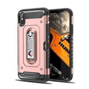 Schokbestendige PC + TPU Case voor de iPhone XS Max  met houder (Rose goud kast)