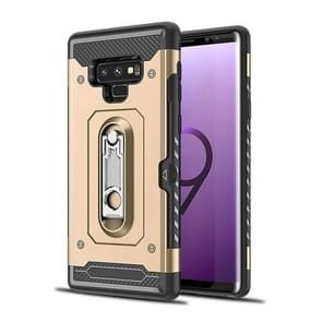 Shockproof PC + TPU Case for Galaxy Note 9, with Holder(Gold)