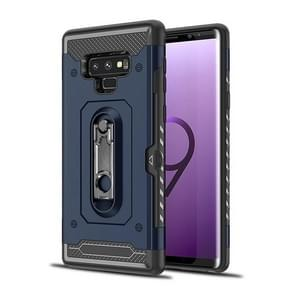 Shockproof PC + TPU Case for Galaxy Note 9, with Holder(Navy Blue)