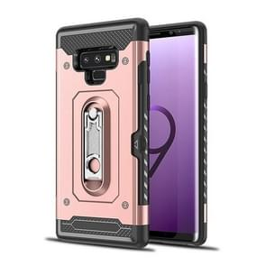 Shockproof PC + TPU Case for Galaxy Note 9, with Holder(Rosegold)