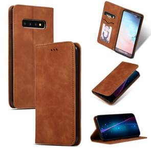 Retro Skin Feel Business Magnetic Horizontal Flip Leather Case for Samsung Galaxy S10 Plus(Brown)