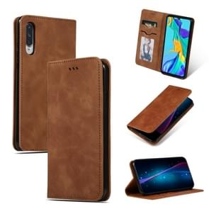 Retro Skin Feel Business Magnetic Horizontal Flip Leather Case for Huawei P30(Brown)