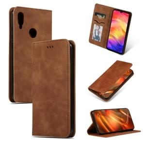 Retro Skin Feel Business Magnetic Horizontal Flip Leather Case for Redmi Note7 & Redmi Note7 Pro(Brown)