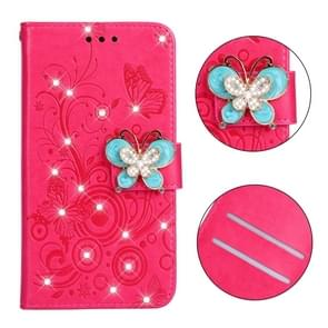 Diamond Encrusted Butterflies Love Flowers Pattern Horizontal Flip Leather Case for Huawei Mate 20 Lite , with Holder & Card Slots & Wallet & Lanyard(Butterfly plum red)