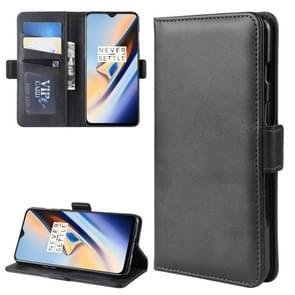 Dual-Side magnetische gesp horizontale Flip lederen case voor OnePlus 7  met houder & card slots & portemonnee & fotolijst (zwart)