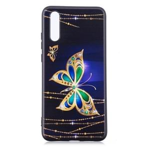 Embossment patroon TPU Soft Protector Cover Case voor Huawei mate 20 Pro (grote vlinder)