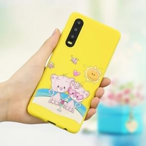 Frosted Pattern TPU Protective Case for Huawei P30(Lovers Bear)