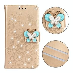 Diamond Encrusted Butterflies Love Flowers Pattern Horizontal Flip Leather Case for Galaxy S10e , with Holder & Card Slots & Wallet & Lanyard(Butterfly Gold)
