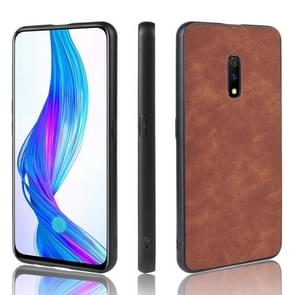 Shockproof Sheep Skin PC + PU + TPU Case for OPPO K3/Realme X(Brown)