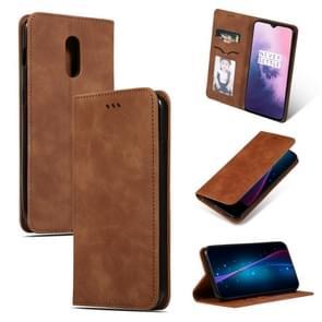 Retro huid feel Business magnetische horizontale Flip lederen case voor OnePlus 7 (bruin)
