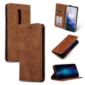 Retro Skin Feel Business Magnetic Horizontal Flip Leather Case for OnePlus 7 Pro(Brown)