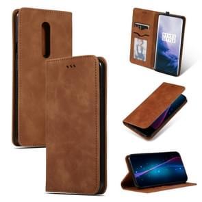 Retro huid feel Business magnetische horizontale Flip lederen case voor OnePlus 7 Pro (bruin)