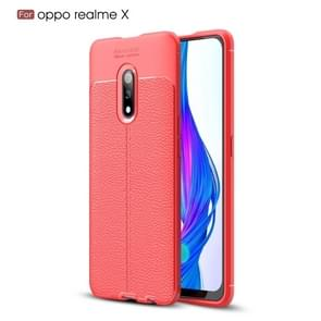 Litchi Texture TPU Shockproof Case for OPPO Realme X(Red)