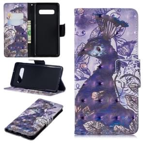 3D Colored Drawing Pattern Horizontal Flip Leather Case for Galaxy S10 Plus, with Holder & Card Slots & Wallet(Peacock)