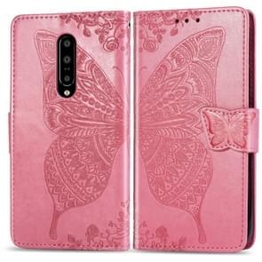 Vlinder liefde bloemen reliëf horizontale Flip lederen case voor OnePlus 7 Pro  met houder & card slots & portemonnee & Lanyard (roze)