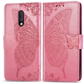 Butterfly Love Flowers Embossing Horizontal Flip Leather Case For One Plus 7  with Holder & Card Slots & Wallet & Lanyard(Pink)