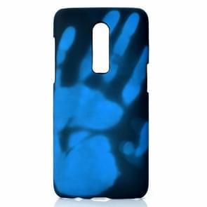 Plak de huid + PC thermische sensor verkleuring geval voor een plus 6 (zwart blauw)