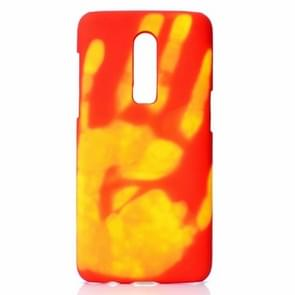 Paste Skin + PC Thermal Sensor Discoloration Case for One Plus 6(Red yellow)