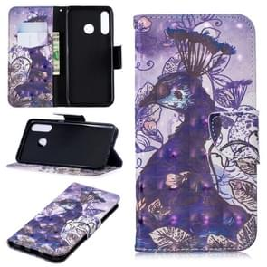 3D Colored Drawing Pattern Horizontal Flip Leather Case for  Huawei P30 Lite, with Holder & Card Slots & Wallet(Peacock)