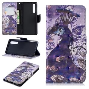 3D Colored Drawing Pattern Horizontal Flip Leather Case for  Huawei P30, with Holder & Card Slots & Wallet(Peacock)